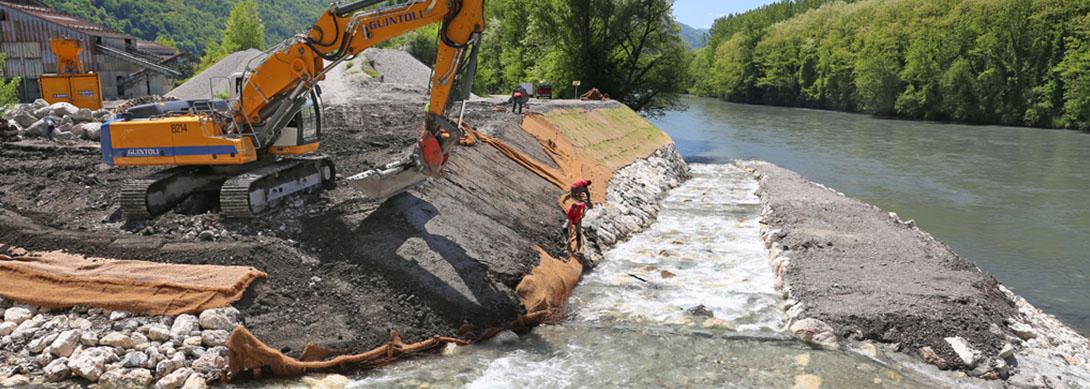 Travaux d'aménagements de l'Isère à l'amont de Grenoble